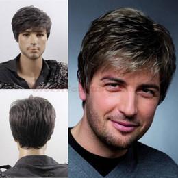 Wholesale Capless Wigs - ePacket free shipping Top Quality Men Short Layer Mixed Black Grey Wig Capless Caps+Wig Cap+Comb+Clip