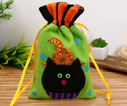 Wholesale Candy Ba - New Good Non Woven Drawstring Halloween Candy Bag Personalized Print Children Candy Gifts Bag Party Pumpkin Ba