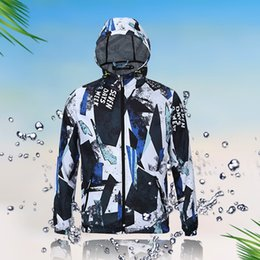Wholesale Spring Hooded Jacket Mens - Waterproof Jackets Mens Spring Coat Hoodies Casual Coats 3D Printing Hip Hop Clothing Male Autumn Tops Long Sleeve 2017 Newest 3xl 10 Colors