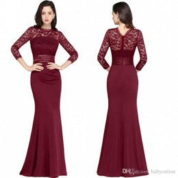 Wholesale Jewel Neck Dresses - Designer Mermaid Long Sleeves Burgundy Evening Dresses 2017 Satin Lace Jewel Neck Zipper Back Floor Length Formal Gowns
