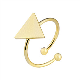 Wholesale Solid Brass Rings - Wholesale 10Pcs lot Free Shipping 2017 New Fashion Gold Filled Rings Party Jewelry Geometric Solid Triangle 925 Silver Rings