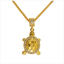 Wholesale Tortoise Charm Gold - Necklaces Trendy Tortoise Rhinestone Crystal Style Pendant Necklace Unisex Hip Hop Jewelry Gold Plated Men Women Best Gift