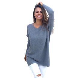 Wholesale Women S Cashmere Sweaters Wholesale - Wholesale-European Women's Sweater High Quality Pure Color Autumn Spring Fashion Outwear Pullovers Knitted Cashmere Sweater Autumn