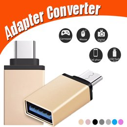 Wholesale Otg Adapter Iphone - Metal USB 3.1 Type C OTG Adapter Male to Mirco USB 3.0 A Female Converter Adapter OTG Function for iPhone Samsung Macbook Google Chromebook