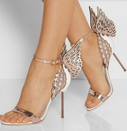 Wholesale High Ankle Gladiator Sandals - Sophia Webster Butterfly Wings Women High Heels Bowtie Summer Shoes Sandals Woman Pointed Toe Ankle Strap Shoes Pumps