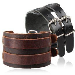 Wholesale Wide Vintage Leather Belt - Fashion Double Belt Genuine Leather Wrist Friendship Big Wide Bracelet For Men Buckle Vintage Punk Rock Cuff Bangle Jewelry