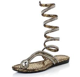 Wholesale Top Heels Fashion Designer - New 2017 Shoes Women Sandals Sexy Gladiator Flip Flops Casual Flat Designer Top Quality Sandals Size 4-9