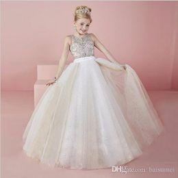 2019 jupe en tulle blanc thé 2016 noble magnifique princesse balle robe Pageant robes bijou strass perles paillettes-parole longueur fleur fille robe