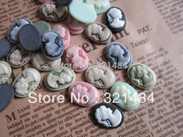 Wholesale Oval Cameo Necklace - Mixed Free shipping Oval 13x18mm Vintage Resin Lady Cameos Cabochons for Earring Bracelet Ring Necklace Pendants diy
