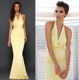 Wholesale Satin Slim Bridesmaid Dresses - Flare Yellow Satin Slim Fit Mermaid Bridesmaid Dresses Cheap Floor Length Elegant Halter Pleated Column Maid Of Honor Dresses Free Shipping