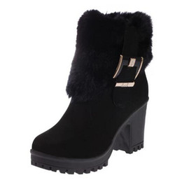 Wholesale Ankle Bootie Boots - Ladies Fashion Formal Wedge High Heel Martin Bootie Women's Thermal Fleece Slip-on Shoes Ankle High Boots