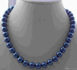 Wholesale 8mm South Sea Pearls - AAA 8mm Blue South Sea Shell Pearl Round Beads Necklace 18'' yyo