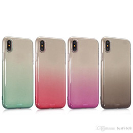 2019 gummi-handy haut Regenbogen-Steigung TPU Fall für Iphone X 8 8 plus bunter klarer Doppelfarben-Gummigel-Silikon-transparente Handy-Rückseiten-Häuten-Abdeckung rabatt gummi-handy haut