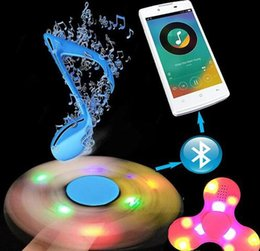 Wholesale Triangle Mini Speakers - LED Bluetooth Fidget Spinner Wireless Bluetooth Mini Speaker Triangle Finger Spinning Colorful Decompression Fingers Tip Tops Toys DHL