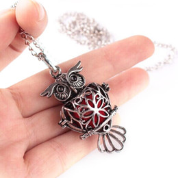 Wholesale Owls Necklace Jewelry - 1 Pc Trendy Essential Oil Diffuser Perfume Jewelry Owl Shaped Pendant Necklace Chain 70cm Alloy Aromatherapy Lockets Necklace