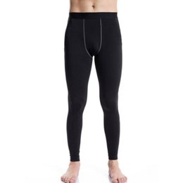 Wholesale Base Underwear - Wholesale-Men Long Thermal Sports Running Base Layer Tights Pants Johns Plush Underwear Fitness Gym Bottoming Trousers