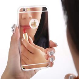 Étuis de téléphone portable de luxe iphone 5s en Ligne-Le téléphone portable mobile de miroir ultra-mince de luxe enferme la caisse souple pour Iphone X 8 / 8Plus 7 / 7plus 5 / 5s 6 / 6s plus