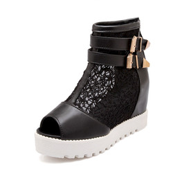 Wholesale Plus Size Platform Boots - 2017 New Plus Big Size 34-43 Black White Beige Buckle Zip High Heel Platform Wedge Autumn Females Lady Ankle Women Boots