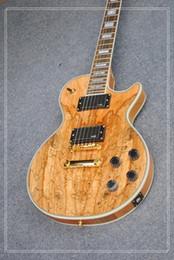 Wholesale electric guitar natural wood - custom satin natural wood electric guitar EMG pickups gold hardware