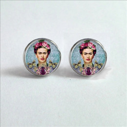 Wholesale Glass Cabochon Earrings - 2017 New Frida Kahlo Stud Earrings Frida Kahlo Ear Studs Feminist Jewelry Glass Cabochon Earrings Handmade