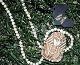 Wholesale Good Wood Hiphop Wholesale - Hiphop Pharaoh King Tut New Good Wood Pendant Necklace Natural Wood Piece