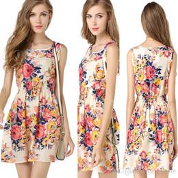 Wholesale Shift Dress Wholesale - Woman Dress Summer Black Round Neck Sleeveless vestidos Womens Casual Clothing Floral Print Cut Away Shift Dresses Plus Size #48