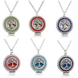 Wholesale Perfume Diy - Aromatherapy Essential Oil Diffuser Necklace Crystal Tree of life Perfume Locket Necklaces with Refill Pads DIY Fashion Jewlery for Women