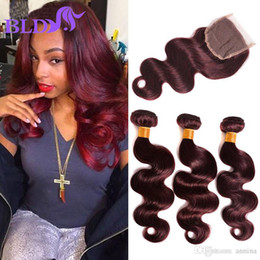 Wholesale Cheap Closures Body Wave - Burgundy Color Weave Bundles With Closure Malaysian Body Wave With Closure Cheap Red Bundles With Lace Closures Virgin Human Hair