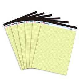 Wholesale Paper Memo Pads - Wholesale- French yellow grid writing pad A4 Memo Pad 6PCS*50 sheets Belt tearing line Legal pad paper Office Supplies Notepad memo pads