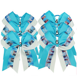 Wholesale Blue Cheer Bows - Kids Girls Frozen Queen Bow Hairband Cheer Bows Ponytail Hair Circle 6.5 inch Baby Blue Hairbands Western Holiday Gift Wholesale 10pcs lot