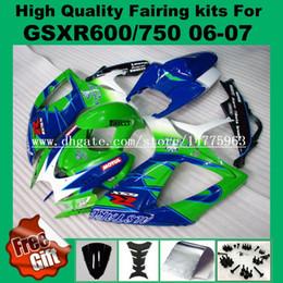 Wholesale Suzuki Gsxr Fairings Green - Fairings for SUZUKI GSXR600 06 07 GSXR750 GSX-R600 GSX-R750 2006 2007 green blue white black GSXR 600 750 06 07 K6 fairing kits +9gifts