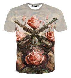 Wholesale T Shirt Guns Roses - 2017 fashion women men short sleeve 3d t shirt funny print Rose flower 2 Gun T-shirt summer novelty tee shirts clothes camisetas