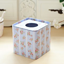 Wholesale Blue Napkins Paper - Wholesale- Free shipping Light blue flower Design Facial Paper Case Square Napkin Holder Metal Tissue Box Square metal case Hot Selling