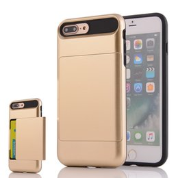 Wholesale Hard Plastic Credit Card Case - Slim Shock-Resistant Hybrid Armor Case with Credit   ID Card Compartment for Apple iPhone 6 6S 7 Plus Card Slot Holder Hard Cover Skin