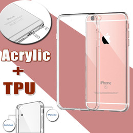 Wholesale Iphone Case Plug Dust - Ultra Thin Slim Acrylic+TPU Soft Transparent Silicone Crystal Hard Full Clear Cover Case Skin For iPhone 7 Plus 6 6S 5S SE With Dust Plug