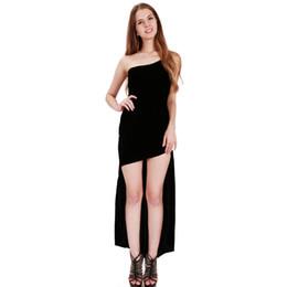Wholesale One Shoulder Clubwear Dress Black - Plus Size Sexy Black Bandage Hi-Lo Dress Elegant Solid One Shoulder Bodycon Clubwear Party Maxi Dresses Vestido feminino S-XXL WB009051