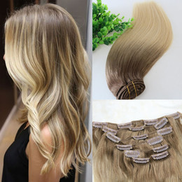 Wholesale blonde hair clip piece - Full Head Clip In Human Hair Extensions Ombre Medium Brown Ombre Hair 613# Light Blonde Balayage Highlights 7PCS a lot 120gram