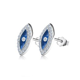 Wholesale Pave Evil Eye - Blue Crystal Evil Eye Stud Earring Micro paved AAA Austrian Cubic Zirconia for Girl Fashion Women Jewelry 2017 New Style