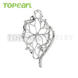 Wholesale Pearl Mounting Jewelry - 9PM164 Teboer Jewelry 3pcs LOT Hollow Cut Design 925 Sterling Silver Big Pendant Pearl Mount Setting