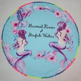 Wholesale Wholesale Ball Fringe - Mermaid Round Beach Towel Colorful Ball Tassel Fringe Ombre Round Beach Towel Beach Throw Yoga Mat Mermaid Picnic Mat CCA6325 20pcs