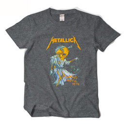 Wholesale Metallica Tee - Metallica Short Sleeve T shirt Men Hip hop Streetwear Fashion T shirt Mens Heavy Metal Rock Punk T-shirts Solid Cotton Tees XXL