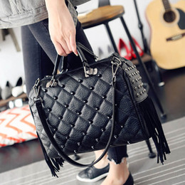 Wholesale Designer Bags Studs - Wholesale-2016 Winter Luxury Handbags Women Bag Designer Tote Bags Stud Tassel Fringe Big Punk Hand Bags Ladies High Quality Shopper Bag