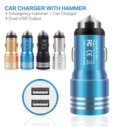 Wholesale Uk Emergency - Best Price Emergency Safety Hammer Style Aluminum Alloy Metal Dual Port USB DC Car Charger For iphone 6 7 Android Phones 4 Colors