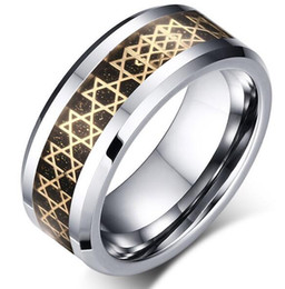 Wholesale Tungsten Ring Europe - Europe wholesales Gold Stars Symbol inlay Tungsten Carbide Ring Fashion Jewelry Ring for finger mens style