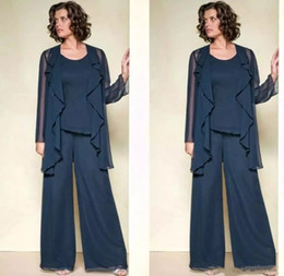 Wholesale Wedding Beaded Pants - Elegant Three Pieces Mother Of The Bride Pant Suits Jewel Neck Beaded Wedding Guest Dress Plus Size Cheap Mothers Groom Dresses