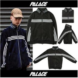 Wholesale Good Coat Brands - PALACE Jacket Zipper Stripe Casual Coat Teenager Hot Brand Sport Wear Baseball Uniform Cardigan Black Hoodies Good Quality