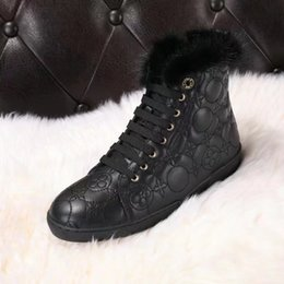 Wholesale Knee High Boots Sneakers - Classics Brand Womens Snow Boot,High Top Ankle Boots For Womens,Luxury Mink Fur Collar Wool Sheepskin Ladies Sneakers Size35-40
