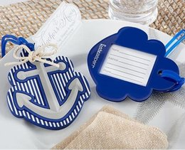 Wholesale Bridal Party Presents - Beach Theme Anchor Luggage Tag Blue Plastic Bag Tag Wedding Favor Bridal Shower Party Gift Guest Present Favour