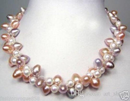 Wholesale white twisted pearl necklace - 2rows white pink purple freshwater pearl twist jewelry necklace