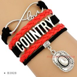 Wholesale Cowboy Themes - Customizable Infinity Love Country Music Bracelet Cowboy Hat Charm Black Red Leather Multilayer Bracelet Custom any Themes